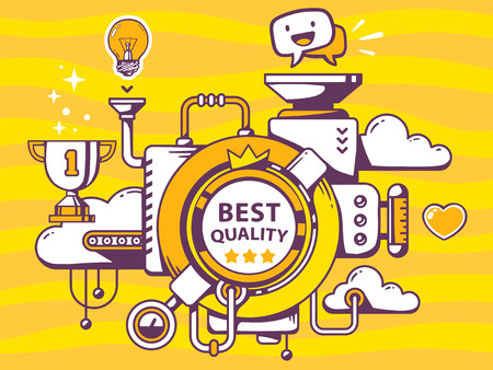 relevant: Vector illustration of mechanism to make best quality and relevant icons on yellow background. Line art design for web, site, advertising, banner, poster, board and print.