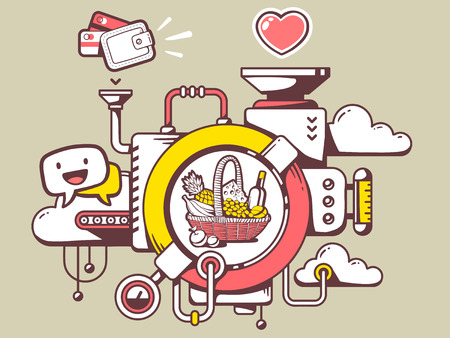 relevant: Vector illustration of mechanism to buy basket with food and relevant icons on light background. Line art design for web, site, advertising, banner, poster, board and print.