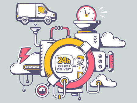 relevant: Vector illustration of mechanism 24 hours express delivery and relevant icons on gray background. Line art design for web, site, advertising, banner, poster, board and print.