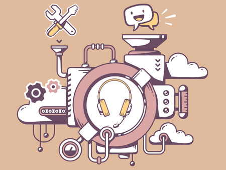 relevant: Vector illustration of mechanism customer  support with headphone and relevant icons on brown background. Line art design for web, site, advertising, banner, poster, board and print. Illustration