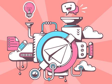 Vector illustratie van het mechanisme met papieren vliegtuig en kantoor pictogrammen op rode achtergrond. Line art design voor web, website, reclame, banner, poster, board en afdrukken.