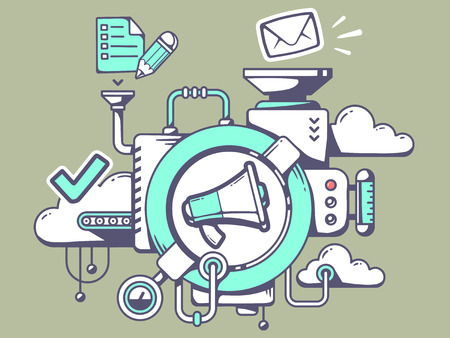 Vector illustration of mechanism with megaphone and office icons on green background. Line art design for web, site, advertising, banner, poster, board and print.