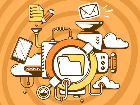Vector illustration of mechanism with document folder and office icons on orange background. Line art design for web, site, advertising, banner, poster, board and print.