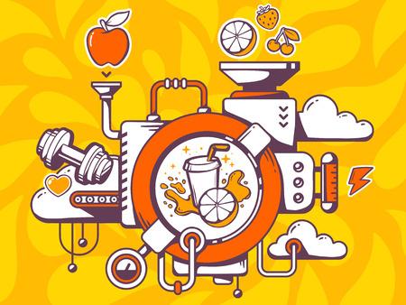 Vector illustration of mechanism to make fresh fruit juice and relevant icons on orange pattern background. Line art design for web, site, advertising, banner, poster, board and print. Illustration