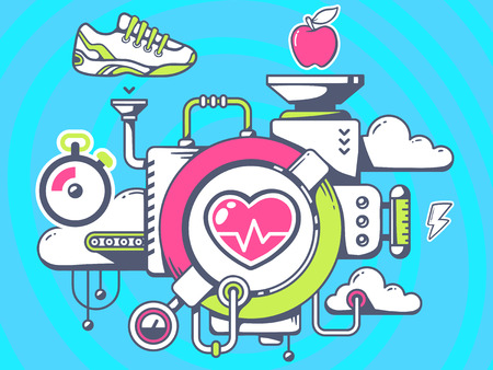 relevant: Vector illustration of mechanism to training heart and relevant icons on blue background. Line art design for web, site, advertising, banner, poster, board and print.
