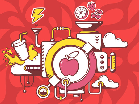 relevant: Vector illustration of mechanism with apple and relevant icons on red pattern background. Line art design for web, site, advertising, banner, poster, board and print. Illustration