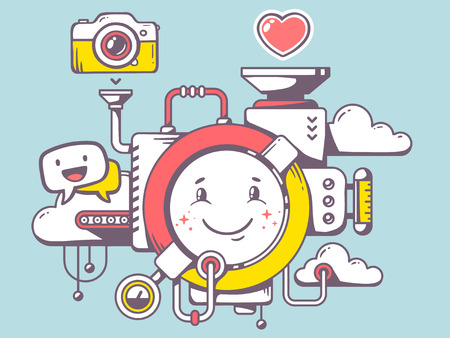 Vector illustration of mechanism with smile and relevant icons on blue background. Line art design for web, site, advertising, banner, poster, board and print. Ilustração