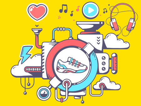relevant: Vector illustration of mechanism with sneaker and relevant icons on yellow background. Line art design for web, site, advertising, banner, poster, board and print.