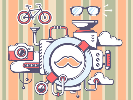 relevant: Vector illustration of mechanism with moustache and relevant icons on pattern background. Line art design for web, site, advertising, banner, poster, board and print.