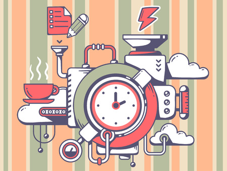 Vector illustration of mechanism with clock and relevant icons on pattern background. Line art design for web, site, advertising, banner, poster, board and print.