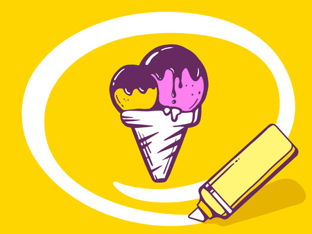 circling: Vector illustration of marker drawing circle around ice cream on yellow background. Line art design for web, site, advertising, banner, poster, board and print.
