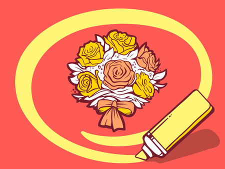 circling: Vector illustration of marker drawing circle around bouquet of flowers on red background. Line art design for web, site, advertising, banner, poster, board and print. Illustration