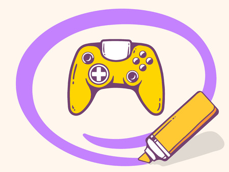 playstation: Vector illustration of marker drawing circle around joystick on light background. Line art design for web, site, advertising, banner, poster, board and print.