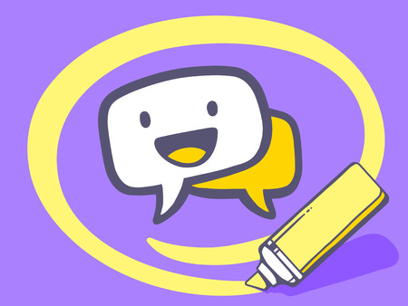 circling: Vector illustration of marker drawing circle around speech bubble with smile on purple background. Line art design for web, site, advertising, banner, poster, board and print. Illustration