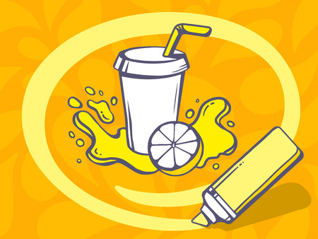 Vector illustration of marker drawing circle around fresh fruit juice on orange pattern background. Line art design for web, site, advertising, banner, poster, board and print. Vector