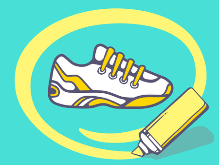 circling: Vector illustration of marker drawing circle around sneaker on green background. Line art design for web, site, advertising, banner, poster, board and print. Illustration