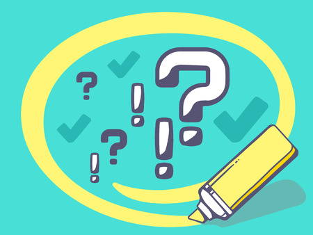 exclamatory: Vector illustration of marker drawing circle around question mark on blue background. Line art design for web, site, advertising, banner, poster, board and print.