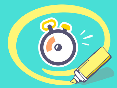 circling: Vector illustration of marker drawing circle around stopwatch on blue background. Line art design for web, site, advertising, banner, poster, board and print.