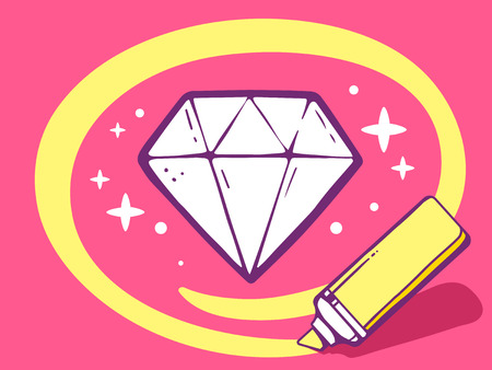 faceting: Vector illustration of marker drawing circle around diamond on pink background. Line art design for web, site, advertising, banner, poster, board and print.