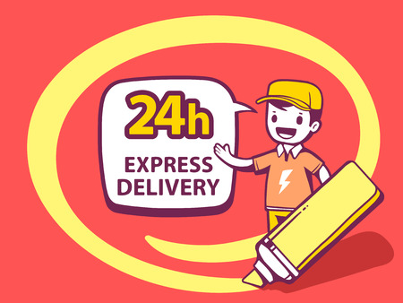 circling: Vector illustration of marker drawing circle around man and bubble 24 h express delivery on red background. Line art design for web, site, advertising, banner, poster, board and print. Illustration
