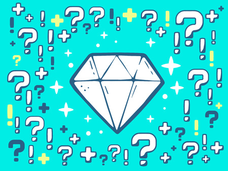 faceting: Vector illustration of many questions and exclamation marks around diamond on blue pattern background. Line art design for web, site, advertising, banner, poster, board and print.