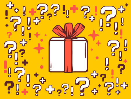 Vector illustration of many questions and exclamation marks around gift box on yellow pattern background. Line art design for web, site, advertising, banner, poster, board and print. Illustration