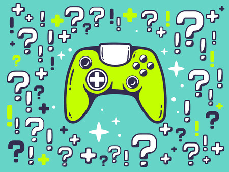 Vector illustration of many questions and exclamation marks around joystick on green pattern background. Line art design for web, site, advertising, banner, poster, board and print. Illustration