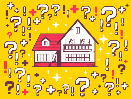 Vector illustration of many questions and exclamation marks around home on yellow pattern background. Line art design for web, site, advertising, banner, poster, board and print. 일러스트