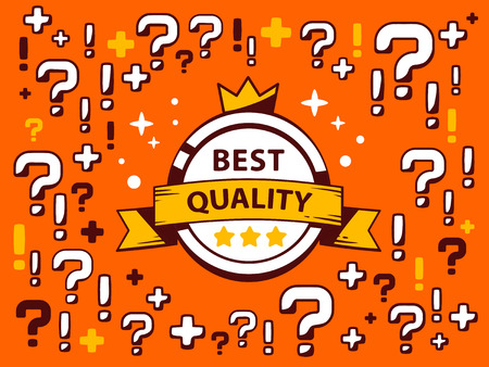 quality questions: Vector illustration of many questions and exclamation marks around label best quality on red pattern background. Line art design for web, site, advertising, banner, poster, board and print.
