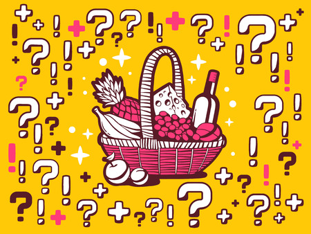 food questions: Vector illustration of many questions and exclamation marks around basket with food on yellow pattern background. Line art design for web, site, advertising, banner, poster, board and print.