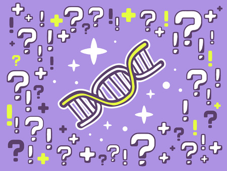 Vector illustration of many questions and exclamation marks around dna molecule chain on violet pattern background. Line art design for web, site, advertising, banner, poster, board and print. Vector