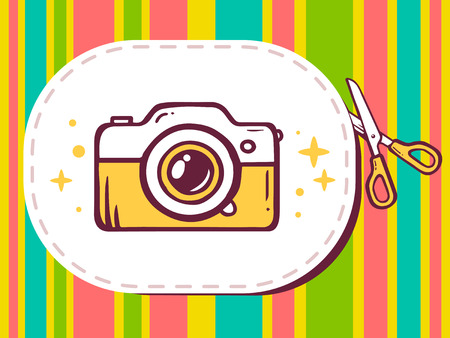 cutting sticker: Vector illustration of scissors cutting sticker with icon of photo camera on pattern background. Line art design for web, site, advertising, banner, poster, board and print.
