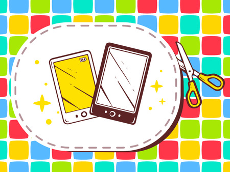 cutting sticker: Vector illustration of scissors cutting sticker with icon of phone on pattern background. Line art design for web, site, advertising, banner, poster, board and print.