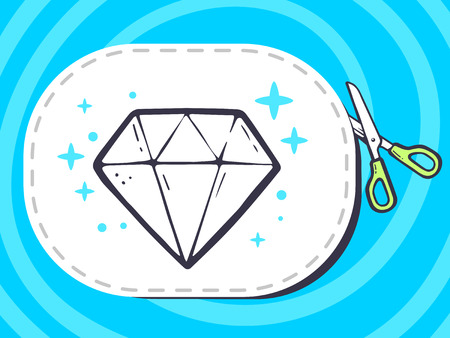 faceting: Vector illustration of scissors cutting sticker with icon of diamond on pattern background. Line art design for web, site, advertising, banner, poster, board and print.
