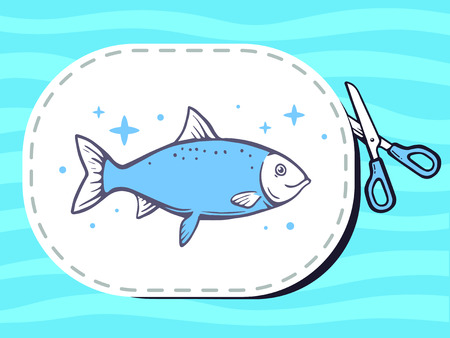 cutting sticker: Vector illustration of scissors cutting sticker with icon of fish on pattern background. Line art design for web, site, advertising, banner, poster, board and print.