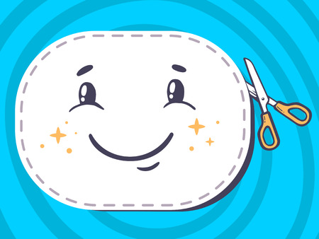 Vector illustration of scissors cutting sticker with icon of smile on blue background. Line art design for web, site, advertising, banner, poster, board and print.