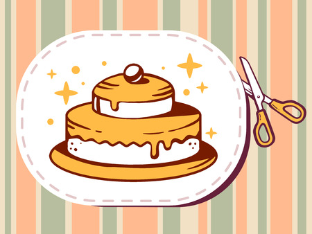 bakery price: Vector illustration of scissors cutting sticker with icon of cake on pattern background. Line art design for web, site, advertising, banner, poster, board and print. Illustration