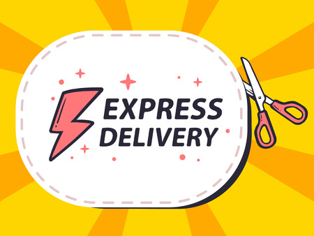 cutting sticker: Vector illustration of scissors cutting sticker with icon of express delivery on yellow background. Line art design for web, site, advertising, banner, poster, board and print.