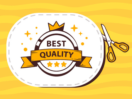 cutting sticker: Vector illustration of scissors cutting sticker with label of best quality on pattern background. Line art design for web, site, advertising, banner, poster, board and print.