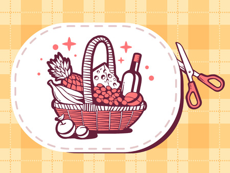 message bottle: Vector illustration of scissors cutting sticker with icon of basket with food on pattern background. Line art design for web, site, advertising, banner, poster, board and print.