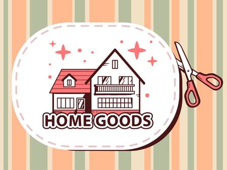 cutting sticker: Vector illustration of scissors cutting sticker with icon of home goods on pattern background. Line art design for web, site, advertising, banner, poster, board and print. Illustration