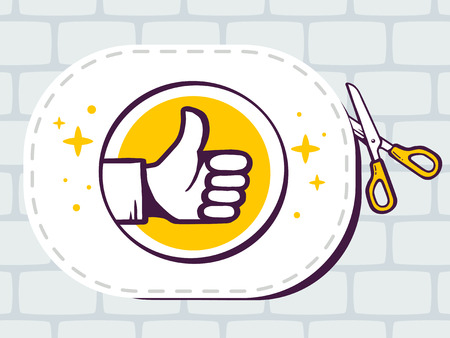 cutting sticker: Vector illustration of scissors cutting sticker with icon of thumb up on brick pattern background. Line art design for web, site, advertising, banner, poster, board and print. Illustration