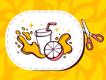 cutting sticker: Vector illustration of scissors cutting sticker with icon of fresh fruit juice on pattern background. Line art design for web, site, advertising, banner, poster, board and print.
