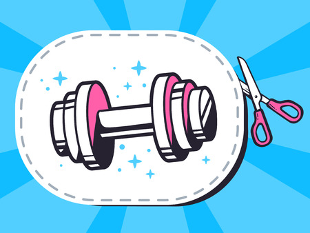 cutting sticker: Vector illustration of scissors cutting sticker with icon of dumbbell on blue background. Line art design for web, site, advertising, banner, poster, board and print.