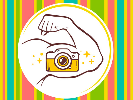 manly: Vector illustration of strong man hand with photo camera icon on bright pattern background. Manly line art design for web, site, advertising, banner, poster, board and print.