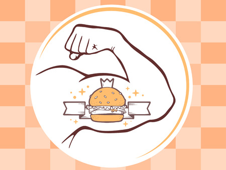 manly: Vector illustration of strong man hand with big burger icon on bright pattern background. Manly line art design for web, site, advertising, banner, poster, board and print.