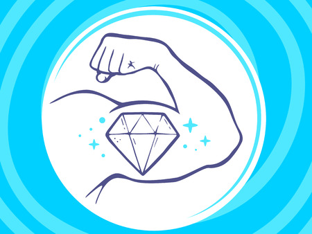 manly: Vector illustration of strong man hand with  icon of diamond on blue background. Manly line art design for web, site, advertising, banner, poster, board and print.