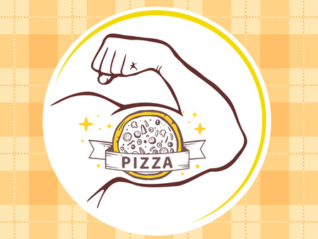 manly: Vector illustration of strong man hand with  icon of pizza on yellow pattern background. Manly line art design for web, site, advertising, banner, poster, board and print.