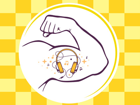Vector illustration of strong man hand with  icon of headphones on yellow pattern background. Manly line art design for web, site, advertising, banner, poster, board and print.