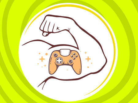 Vector illustration of strong man hand with  icon of joystick on green background. Manly line art design for web, site, advertising, banner, poster, board and print.